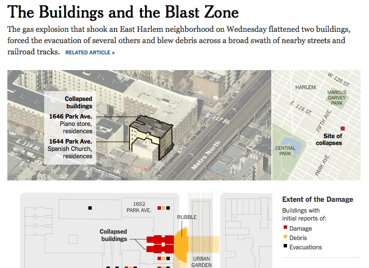 The buildings and the blast zone, from The New York Times
